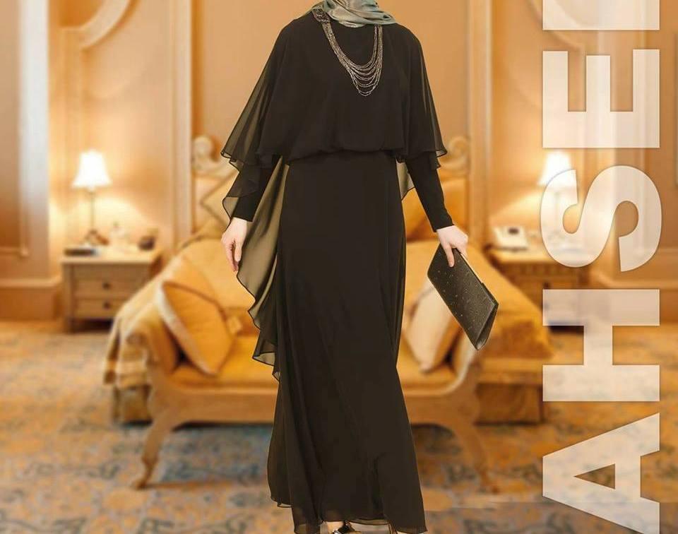 cc842e429ed8b Ahsen zincirli tüllü abiye elbise 38-48 beden aralığında Gölbaşı Lina  Tesettür'de
